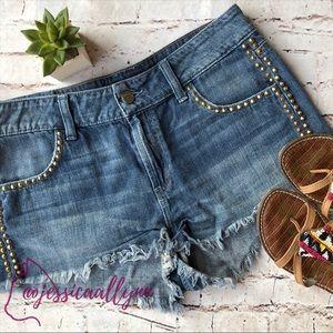 Guess | denim studded blue jean cut offs shorts